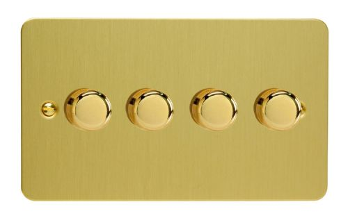 Varilight JFBDP254 Ultraflat Brushed Brass 4 Gang 2-Way Push-On/Off LED Dimmer 0-120W V-Pro